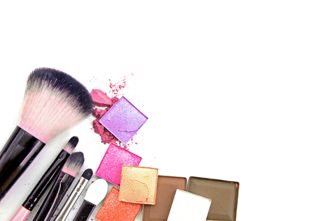 loose skin: Colorful Decorative cosmetics on white concrete floor workplace. Top view Stock Photo