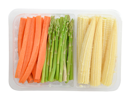 baby corn: Pack of asparagus carrots baby corn isolate (clipping path)