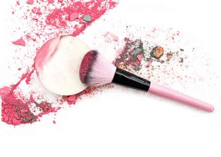 blusher: Multi Colored Powder Eyeshadow on a Brush, beauty tool blusher