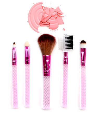 colored powder: Pink Colored Powder and beauty tool blusher