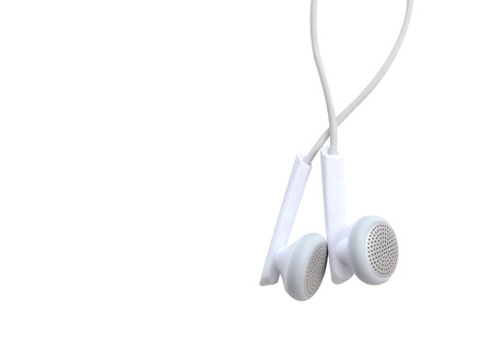stereo cut: concept of digital music white Headphones (clipping path) Stock Photo