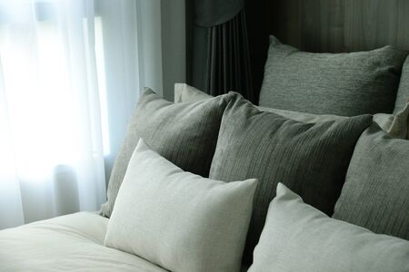 case sheet: Bed and pillow set in bedroom. Stock Photo
