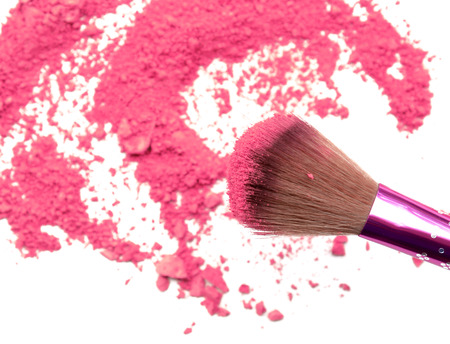 Professional make-up brush on rainbow crushed eyeshadow