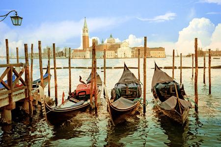 st  mark's square: Venice, gondolas, near St. Marks Square.
