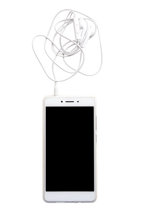 earphone: Smartphone with earphone isolated on white background with clipping path