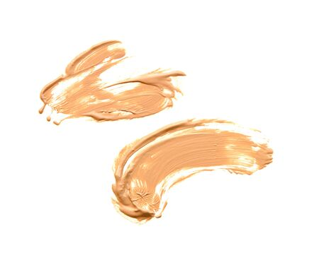 squeeze shape: collection of various make up liquid powder strokes on white background Stock Photo