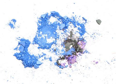 Crushed eyeshadow on white background Stock Photo