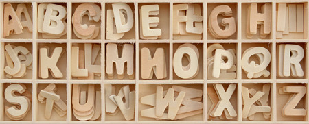 wooden block letter: Capital wooden block letter ABC alphabet set in a wood box
