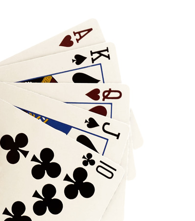 detach: close up of falling playing cards poker game on white background