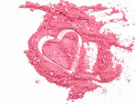 heart shaped crushed eyeshadows isolated on white background Zdjęcie Seryjne