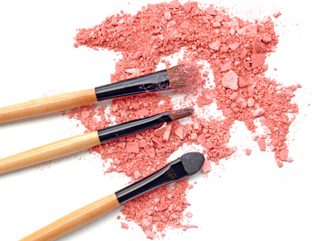 Professional make-up brush on crushed eyeshadow