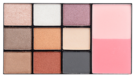 eyemakeup: Make-up colorful eyeshadow palettes isolated on white (clipping path)