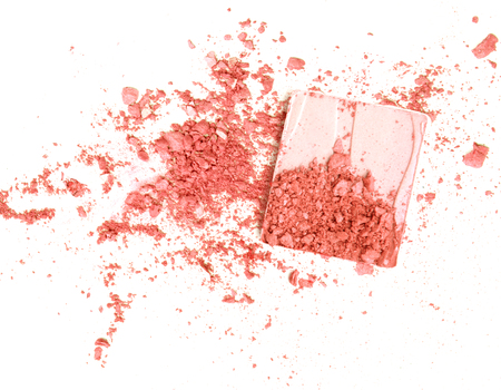 Broken red eye shadow, isolated on white