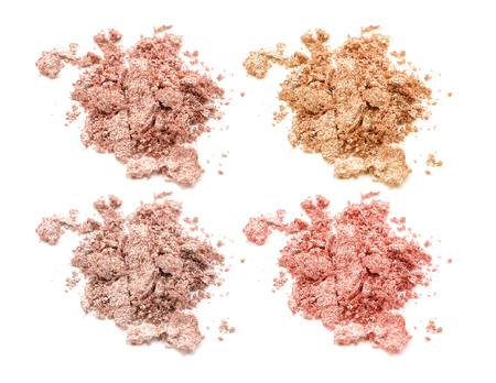 Four colors of eye shadow isolated on white background Stock Photo
