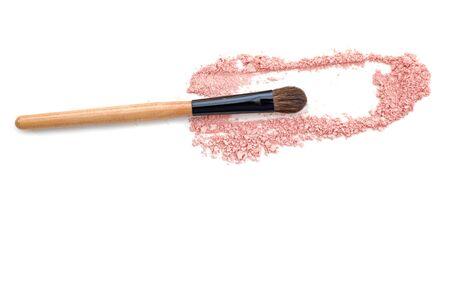 pink powder: make-up brush with three pink powder explosion Stock Photo