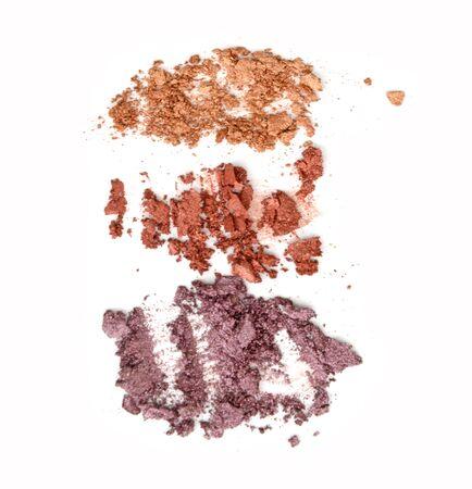 crushed eyeshadow makeup set isolated on white background Stock Photo
