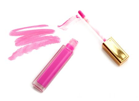 Beautiful lip glosses, isolated on white Stock Photo