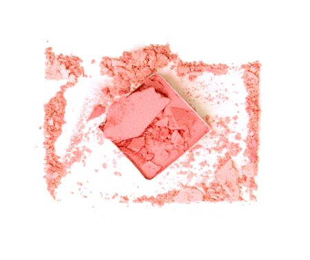 crushed: Pink crushed eyeshadow on white background Stock Photo