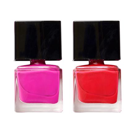 nail polish bottle: Red and Pink nail polish bottle  isolate on white Stock Photo