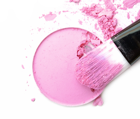 Cosmetic powder brush circle box and crushed blush palette isolated on white