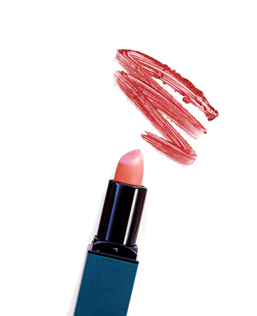 smudged: Smudged red lipstick. Stock Photo
