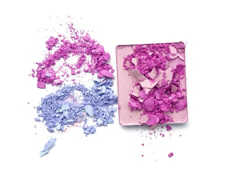 Pink purple and blue crushed eyeshadow. Stock Photo