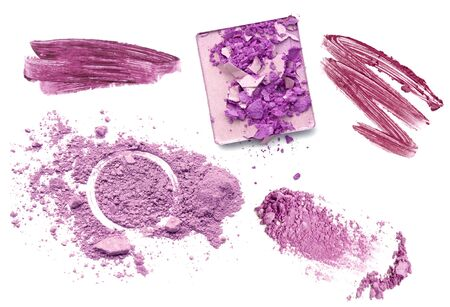 Purple color tone make up cosmetic product. Powder lipgloss and eyeshadow.