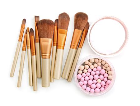 brush for make-up with powder balls Stock Photo