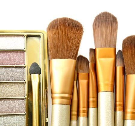 Set of decorative cosmetics, Eyeshadow Palette and brushes (close up) Stock Photo