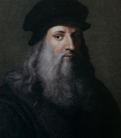 Leonardo da Vinci (1452-1519), Italian Renaissance painter from Florence. Engraving by Cosomo Colombini (d. 1812) after a Leonardo self portrait. Ca. 1500