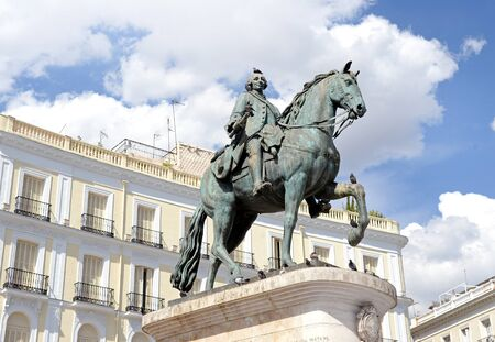 Statue of Carlos III at Puerta del Sol (Gateway of the Sun), Madrid, Spain. Carlos III (Charles III) was the King of Spain from 1759 to 1788. Editorial