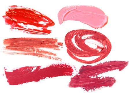 Mettre à lèvres rouge ensemble collection sur fond blanc Banque d'images - 82080719