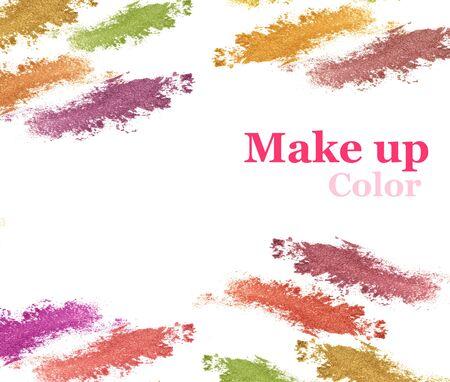 Various eyeshadow glitter isolate on white.