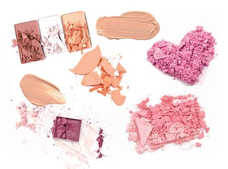 crushing: Face powder and brush over white background Stock Photo