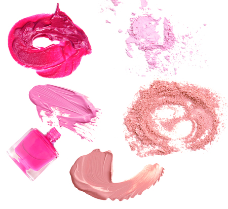 make-up powder nail polisher and lip smear isolated on white Stock Photo