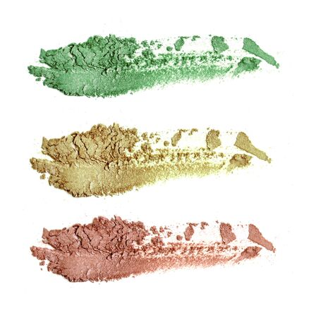 Colors make up eye shadow isolate on white.