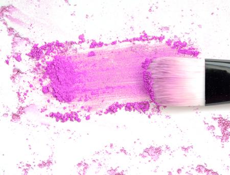 face powder and brush on white Stock Photo