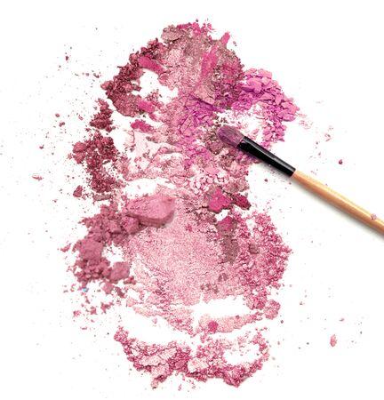 blush make up on crushed pink powder cosmetic