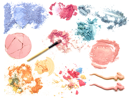 Make up cosmetic powder collection isolate Stock Photo