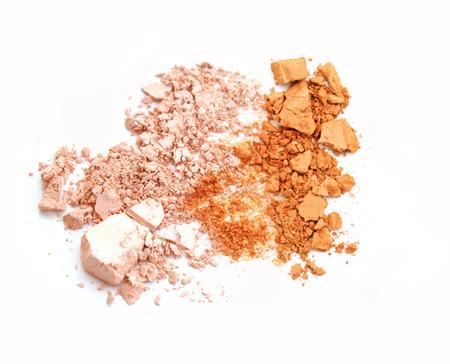 Pink and orange powder make up color.
