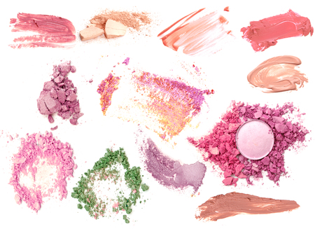 Make up powder foundation set and lipstick smeared isolate collection. Stock Photo