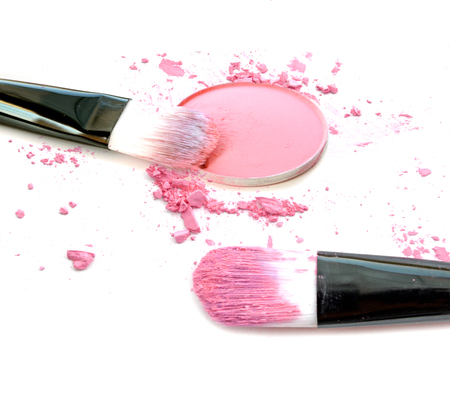 Pink make up color with brush, crushed make up color.