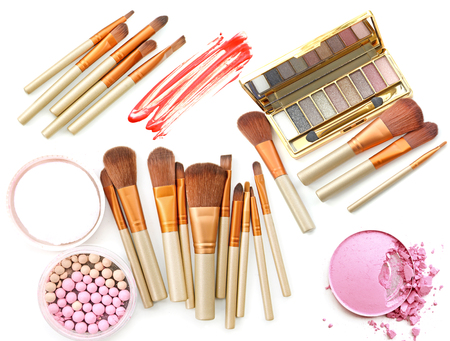 Cosmetic products set. Palette eye shadow and powder make up. Stock Photo