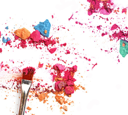 Make-up brush with colorful crushed eyeshadows