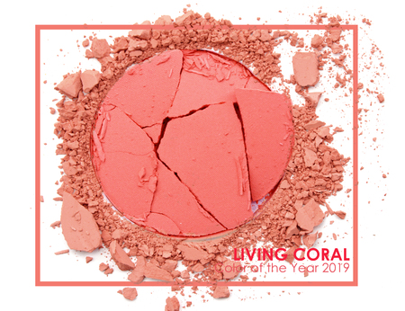 Living coral - Pantone 2019. Make up cosmetic powder brush.