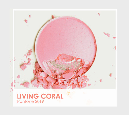 Living coral - Pantone 2019. Make up cosmetic powder brush.