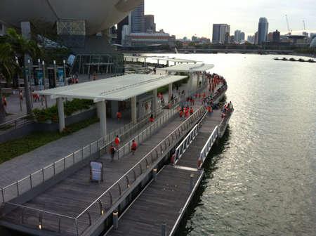 beside: Bridge beside building in Singapore
