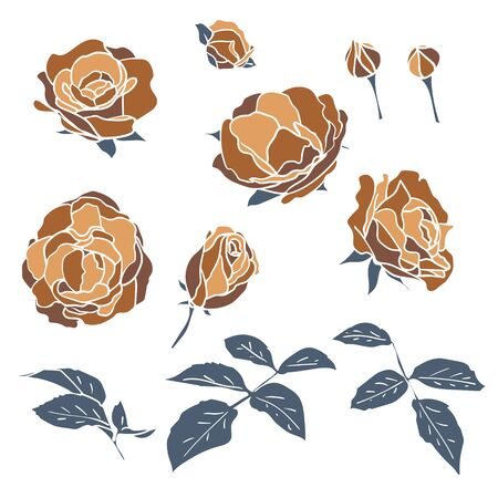 Set of coffee colored roses with leaves and buds. Hand-drawn floral flat motifs mosaic style.