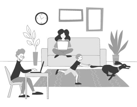 The concept of work from home. Freelancers are working with laptops while a child plays with a pet. Family: mom dad baby and dog.