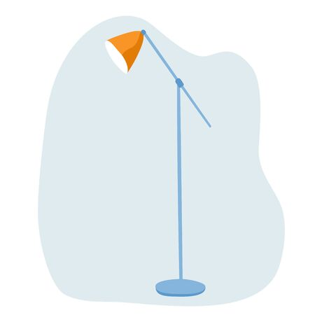 Large floor lamp with one lampshade. Simple hand-drawn flat clip art. Interior design.